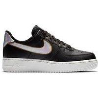 Nike Air Force 1 '07 Metallic - Black , Black/White, Size 5, Women