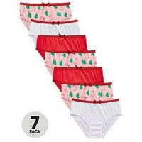 Mini V by Very Girls 7 Pack Flamingo Christmas Knickers, Multi, Size 2-3 Years, Women