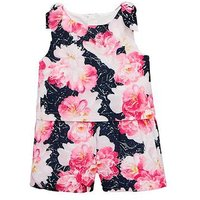 Mini V by Very Girls Toddler Floral Printed Playsuit - Multi, Multi, Size 5-6 Years, Women