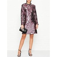 Mcq Alexander Mcqueen All Over Sequin Long Sleeve Dress - Multicolour