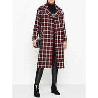 Mcq Alexander Mcqueen Oversized Check Casual Cocoon Coat - Red