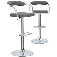 Product photograph showing Pair Of Texas Bar Stools- Grey