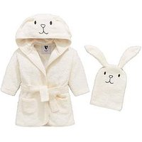 Mini V by Very Baby Unisex Bunny Robe & Mitt Set, White, Size Age(Months): 3-6 Months (17.5Lbs)