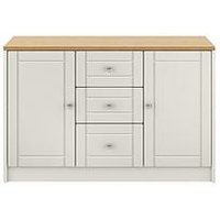 Product photograph showing Alderley Large Ready Assembled Sideboard - Grey Oak Effect