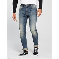 V by Very Mens Tapered Fit Light Vintage Wash Jeans - Light Tint, Light Tint, Size 38, Inside Leg Short, Men