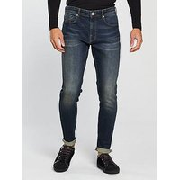 V by Very Mens Tapered Fit Vintage Wash Jeans - Dark Tint, Dark Tint, Size 38, Inside Leg Regular, Men