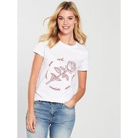 V by Very Roses Are Red Tee, White, Size 10, Women
