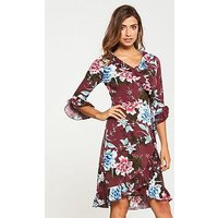 V by Very Wrap Printed Dress, Print, Size 22, Women