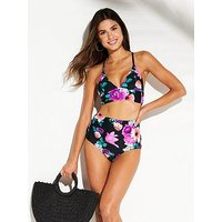 V by Very Mix & Match Cross Back Triangle Bikini Top, Black Print, Size 8, Women