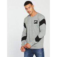 Nike Sportswear Air Long Sleeve T-Shirt, Dark Grey Heather, Size 2Xl, Men
