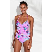 V by Very Essentials Crossover Swimsuit - Floral Print, Floral Print, Size 24, Women