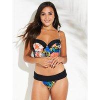 V by Very Shapewear Underwired Longline Bikini Top - Print , Print, Size 38B, Women