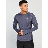 Nike Miler Long Sleeve Running Top, Grey Heather, Size S, Men