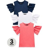 Mini V by Very Girls 3 Pack Cold Sholder Tops, Multi, Size Age: 9-12 Months, Women