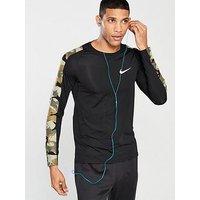Nike Pro Camo Long Sleeve Training Top - Black, Black, Size M, Men