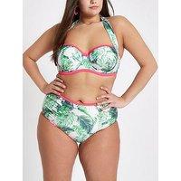 RI Plus Ruched Halter Bikini Top - Palm Print, Palm Print, Size 36Dd-E, Women