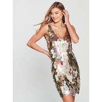 V By Very Sequin Shift Dress - Gold