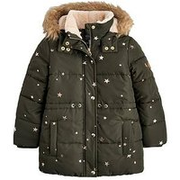 Joules Girls Stella Printed Padded Coat, Khaki, Size 9-10 Years, Women