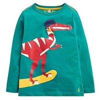 Joules Toddler Boys Zipadee Zip Pocket Dino T-shirt, Green, Size 2 Years