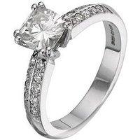 Moissanite 18 Carat 150pt White Gold Cushion Cut Engagement Ring, Size Q, Women