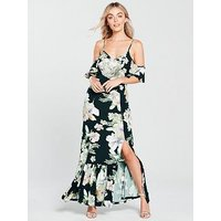 V By Very Petite Cold Shoulder Jersey Maxi Dress - Floral Print