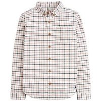 Joules Boys Atley Checked Oxford Shirt, Cream, Size 3 Years