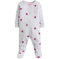 Joules Baby Girls Razamataz Ladybird Print Babygrow, Grey, Size 0-3 Months