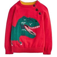 Joules Toddler Boys Spike Intarsia Dino Jumper, Red, Size 1 Year