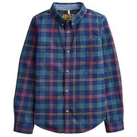 Joules Boys Lachlan Checked Shirt - Navy Tartan, Navy, Size 3 Years