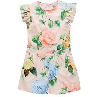 Baker by Ted Baker Girls Rose Printed Playsuit - Light Pink, Light Pink, Size 13 Years, Women