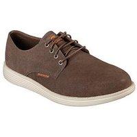 Skechers Plain Toe Lace Up Suede Shoe, Beige, Size 8, Men