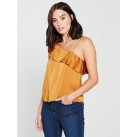 Mango One Shoulder Frill Top - Yellow, Yellow, Size M, Women