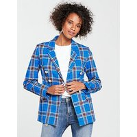V by Very Check Double Breasted Blazer - Blue, Blue Check, Size 8, Women