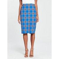 V By Very Check Pencil Skirt - Blue