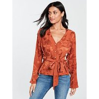 V by Very Jacquard Tie Front Blouse - Rust, Rust, Size 12, Women