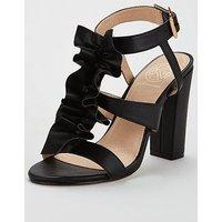 KG Fliss Ruffle Front Heeled Sandal - Black, Black, Size 5, Women