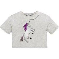 V by Very Girls Unicorn Tassel T-shirt, Grey, Size Age: 14 Years, Women