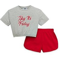 V by Very Girls Slogan T-shirt & Short Outfit, Multi, Size Age: 7 Years, Women