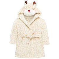 Mini V by Very Girls Reindeer Christmas Dressing Gown - Multi Coloured, Multi, Size Age: 9-12 Months, Women
