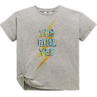 V by Very Girls Reversible Sequin Slogan T-shirt, Grey, Size Age: 11 Years, Women