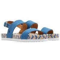 Joules Quayside Flat Sandal - Denim , Denim, Size 7, Women