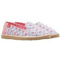 Joules Flat Espadrille Shoes - Printed , Multi, Size 3, Women