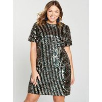 V By Very Curve Stripe Sequin Tunic Dress