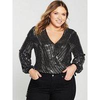V by Very Curve Metallic Wrap Bodysuit - Black/Silver, Metallic Silver, Size 22, Women