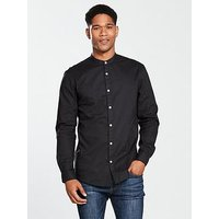 V by Very Long Sleeved Grandad Shirt, Black, Size Xs, Men