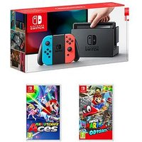 Nintendo Switch Console With Super Mario Odyssey And Mario Tennis Aces