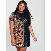 V By Very Curve Sequin Velvet Tunic Dress - Multi