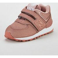 New Balance New Balance 574 Hook & Loop Closure Infant Trainers, Pink, Size 5