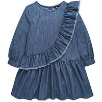 Mini V by Very Girls Denim Ruffle Dress, Blue, Size 9-12 Months, Women