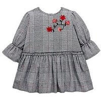 Mini V by Very Girls Check Embroidered Floral Dress - Multi, Multi, Size 6-7 Years, Women